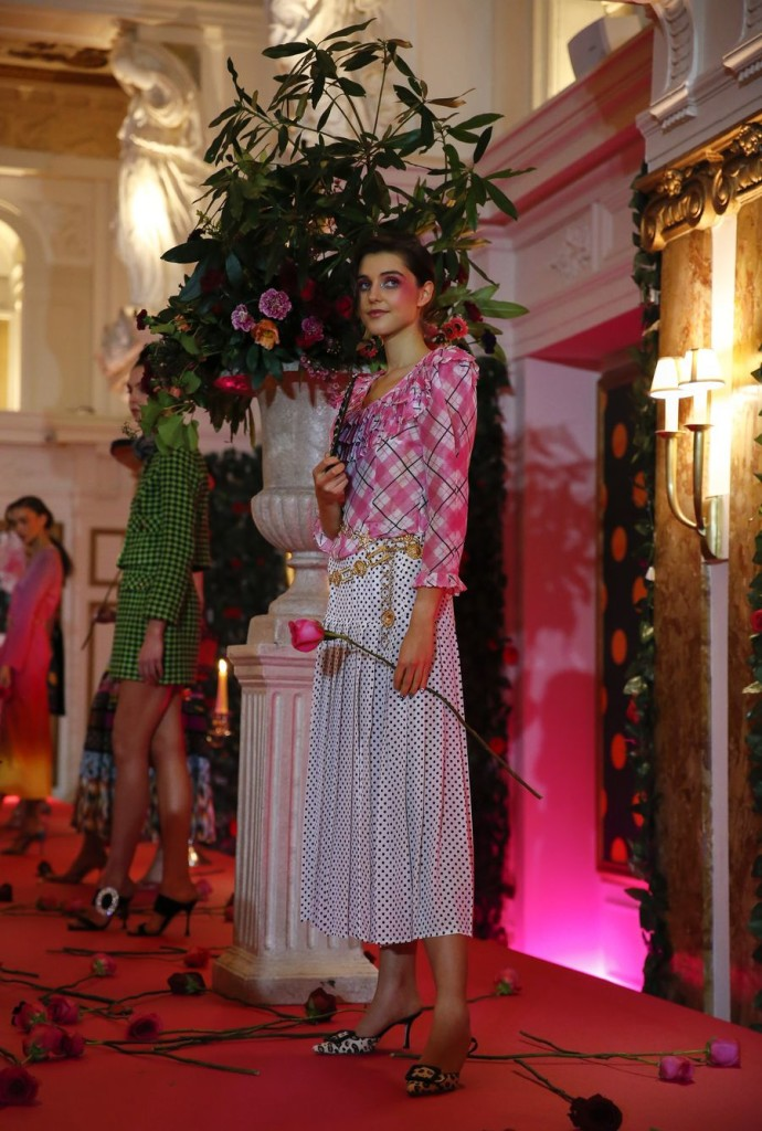 Models are seen on stage during the RIXO presentation at the London Fashion Week at Kimpton Fitzroy London Hotel in London, Britain. (Xinhua/Han Yan)