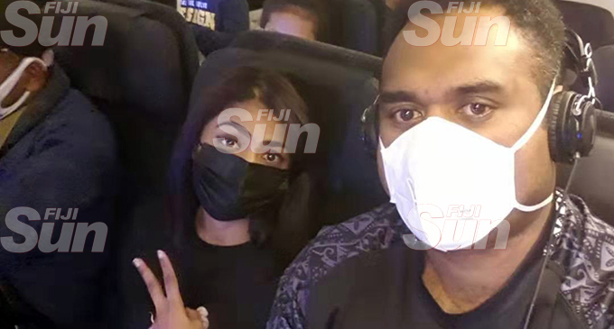 Flying from Wuhan...  Sylvia Nandani and Joe Racaca onboard the Air New Zealand flight  assisted evacuation.