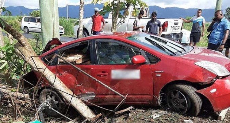 Pair Escaped Major Injury Accident After Veering Off Main Road In Lovu, Lautoka