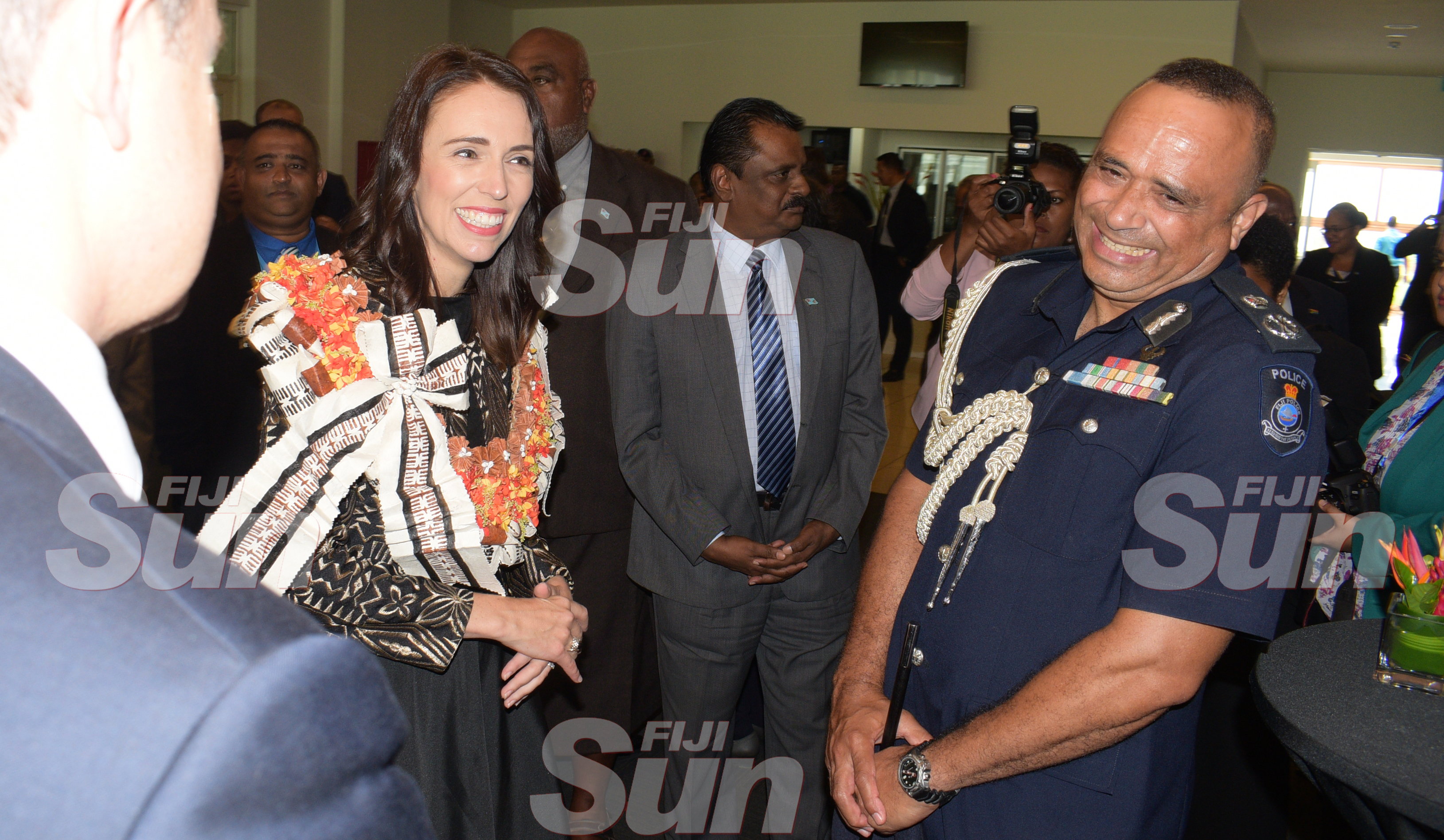 New Zealand Prime Minister Jacinda Ardern with Police Commissioner Sitiveni Qiliho at Grand Pacific Hotel on February 25, 2020. Photo: Ronald Kumar.