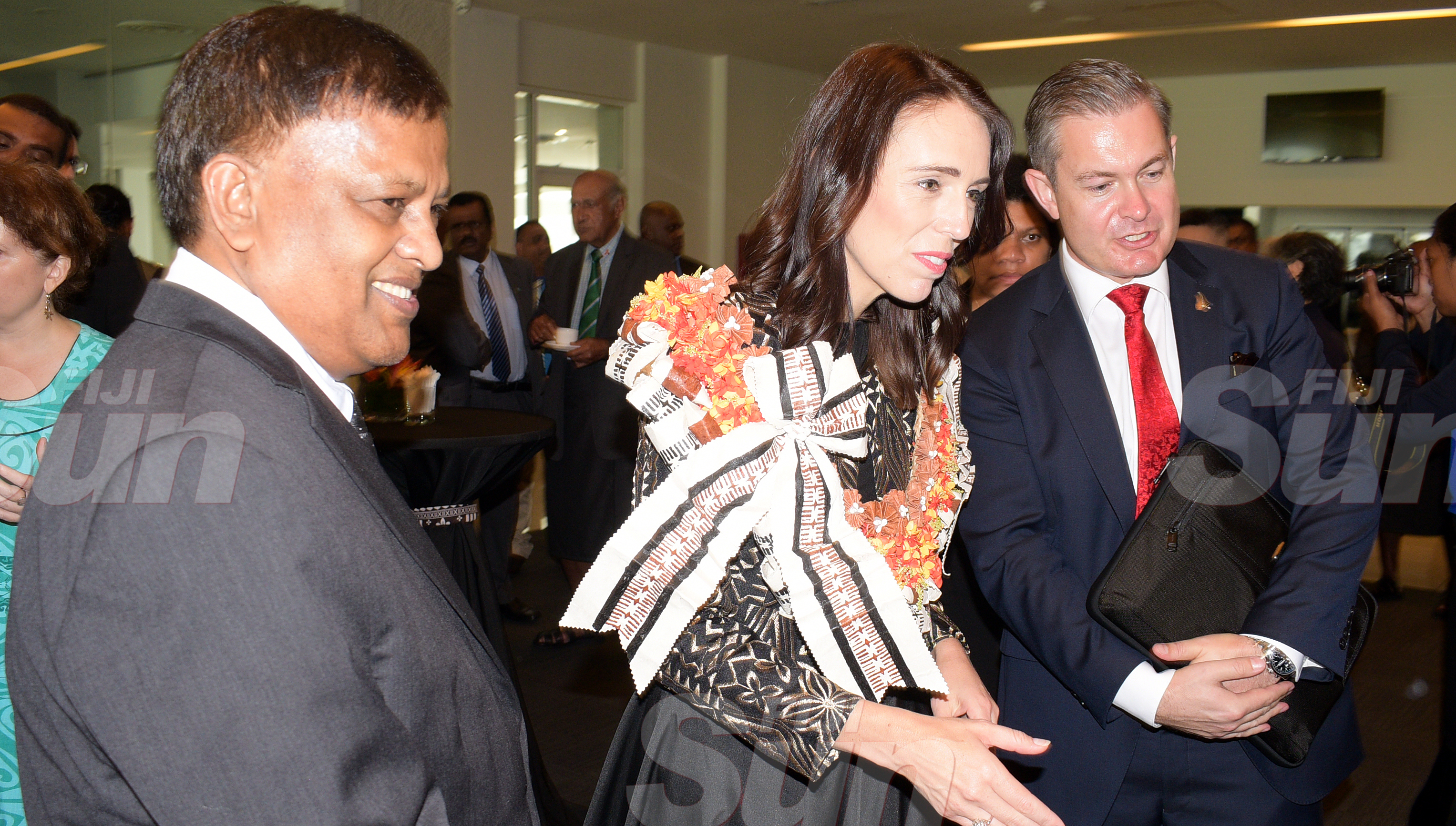 From left-Acting Chief Justice Kamal Kumar, New Zealand Prime Minister Jacinda Ardern and New Zealand High Commissioner to Fiji Jonathan Curr at Grand Pacific Hotel on February 25, 2020. Photo: Ronald Kumar.