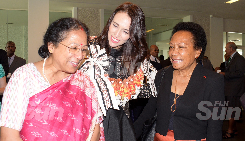 From left-Indian High Commissioner to Fiji Padmaja , New Zealand Prime Minister Jacinda Ardern and PNG High Commissioner to Fiji Lucy Bogari at Grand Pacific Hotel on February 25, 2020. Photo: Ronald Kumar.