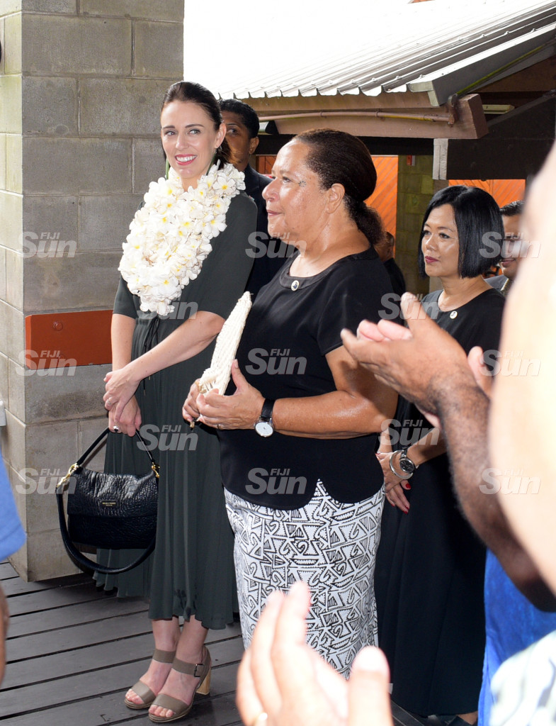 New Zealand Prime Minister Jacinda Ardern (left) with Pacific Island Forum Secretariat Secretary General Dame Meg Taylor on February 26, 2020. Photo: Ronald Kumar.