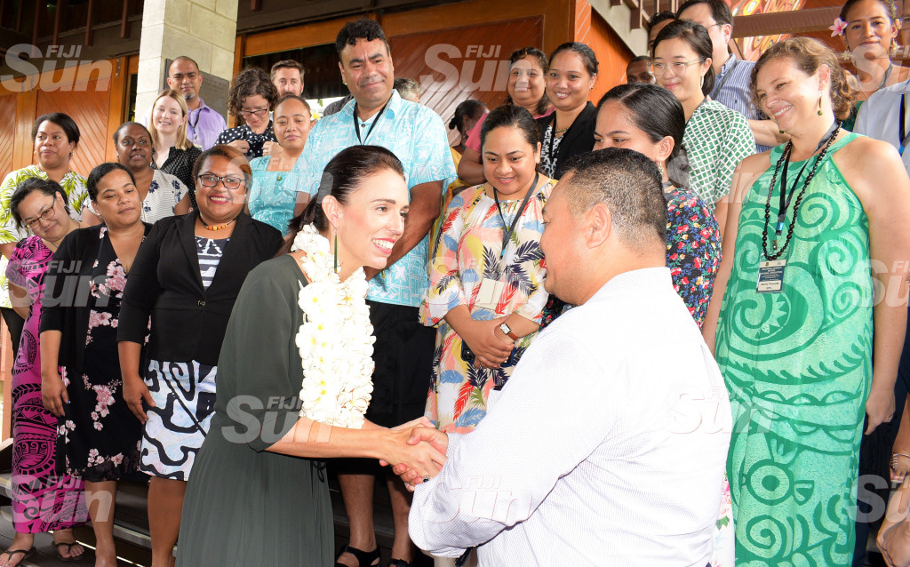 New Zealand Prime Minister Jacinda Ardern with Tuvaluan High Commissioner to Fiji Temate Melitiana and Biological Diversity Beyond National Jurisdiction workshop participants at PIFS office in Suva on February 26, 2020. Photo: Ronald Kumar.
