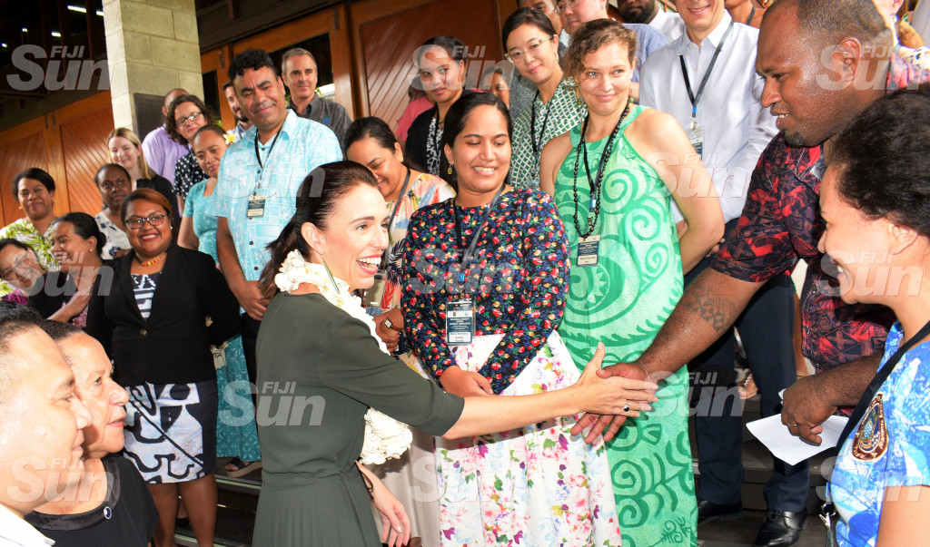 New Zealand Prime Minister Jacinda Ardern with Biological Diversity Beyond National Jurisdiction workshop participants at PIFS office in Suva on February 26, 2020. Photo: Ronald Kumar.