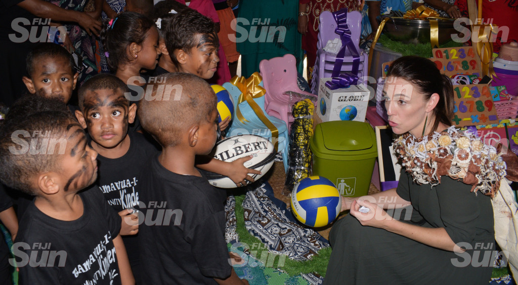 New Zealand Prime Minister Jacinda Ardern while handing over play equipment to Tamavua-i-wai Kindergarten students on February 26, 2020. Photo: Ronald Kumar.