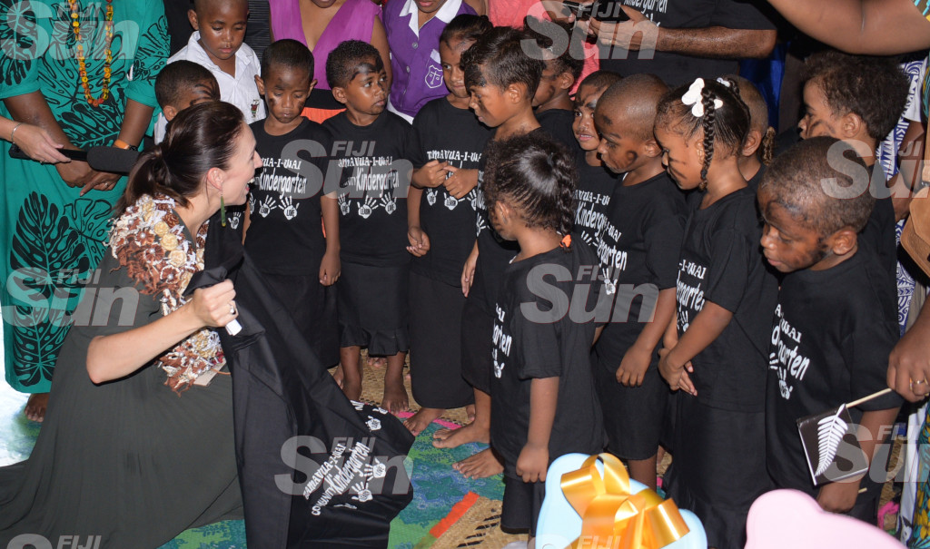 New Zealand Prime Minister Jacinda Ardern received sarong (sulu) from students of Tamavua-i-wai Kindergarten during her visit to the Village on February 26, 2020. Photo: Ronald Kumar.