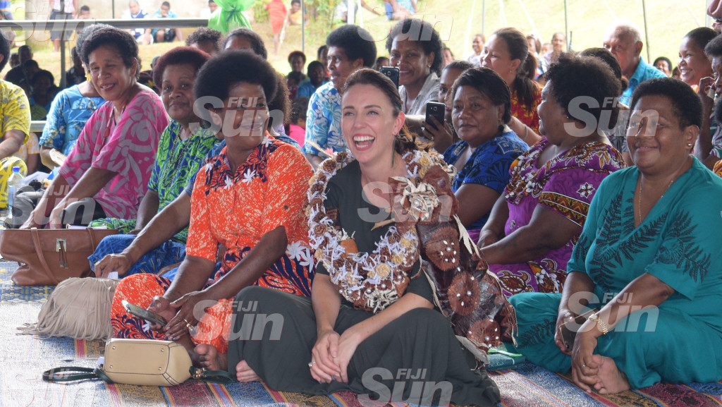 New Zealand Prime Minister Jacinda Ardern with women from Tamavua-i-wai village dring her visit on February 26, 2020. Photo: Ronald Kumar.