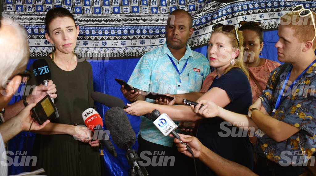 New Zealand Prime Minister Jacinda Ardern with Local and New Zealand media at Tamavua-i-wai village on February 26, 2020. Photo: Ronald Kumar.