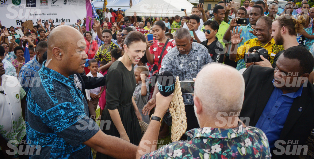 Visiting New Zealand Prime Minister Jacinda Ardern during her visit to Tamavua-i-wai village on February 26, 2020. Photo: Ronald Kumar.