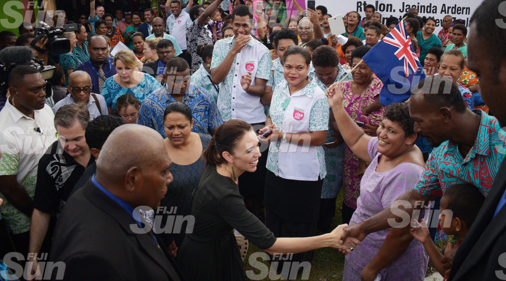 New Zealand Prime Minister Jacinda Ardern during her visit to Tamavua-i-wai village on February 26, 2020. Photo: Ronald Kumar.