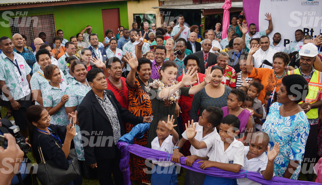 New Zealand Prime Minister Jacinda Ardern with Local Government Minister Premila Kumar and Tamavua-iwai Villagers during her visit to the village on February 26, 2020. Photo: Ronald Kumar.