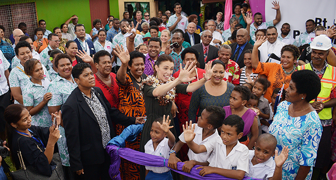New Zealand Prime Minister Jacinda Ardern with the Minister for Housing, Premila Kumar, residents, children and other stakeholders at Tamavua-i-Wai to launch the RISE informal settlement project.  Photo: Ronald Kumar