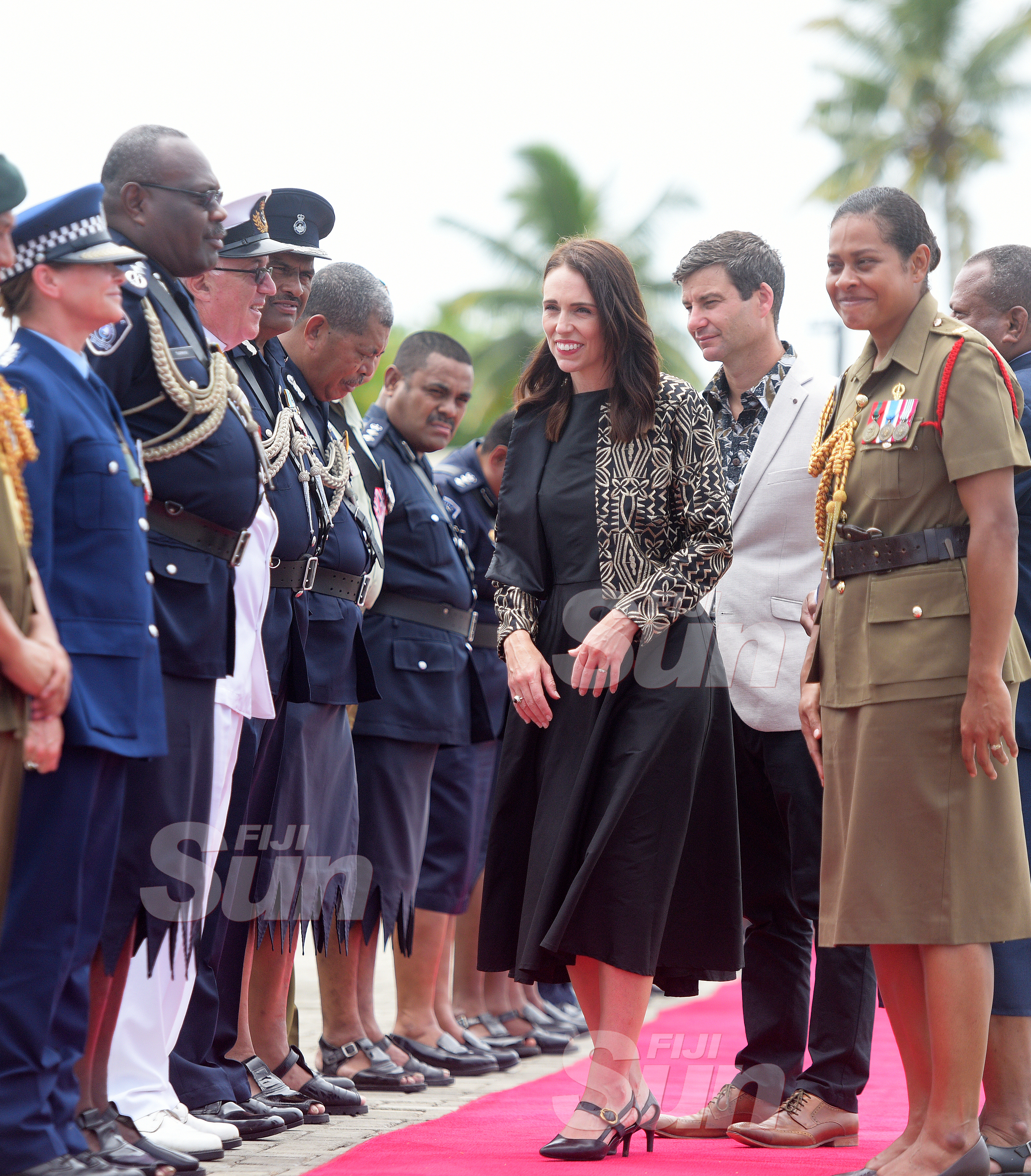 New Zealand Prime Minister Jacinda Ardern while meeting with Senior Police, Army officers and members of ex-Servicemen follwing the wreath laying ceremony at National War Memorial site on February 25, 2020. Photo: Ronald Kumar.