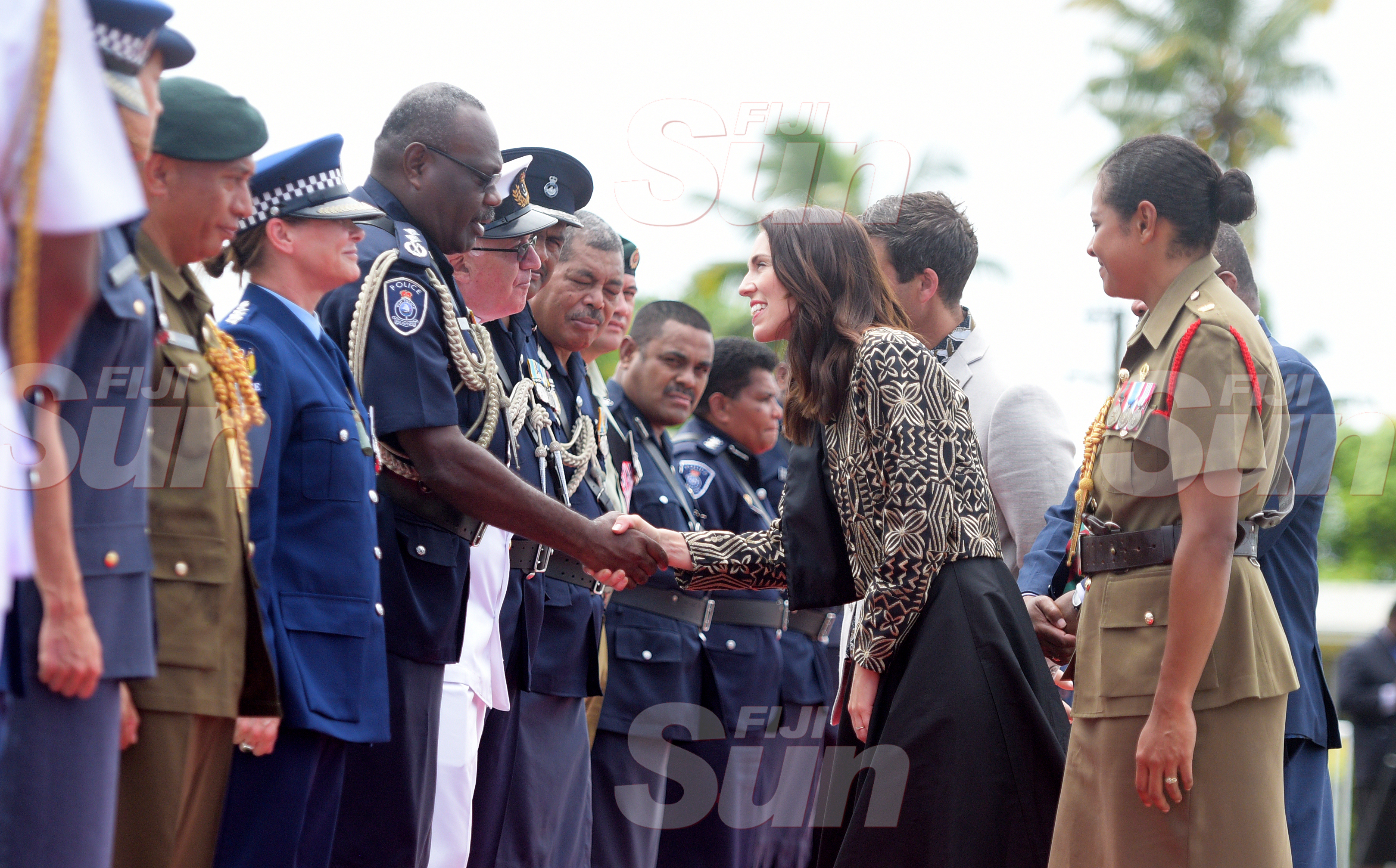 New Zealand Prime Minister Jacinda Ardern with Deputy Commissioner of Police Rusiate Tudravu follwing the wreath laying ceremony at National War Memorial site on February 25, 2020. Photo: Ronald Kumar.