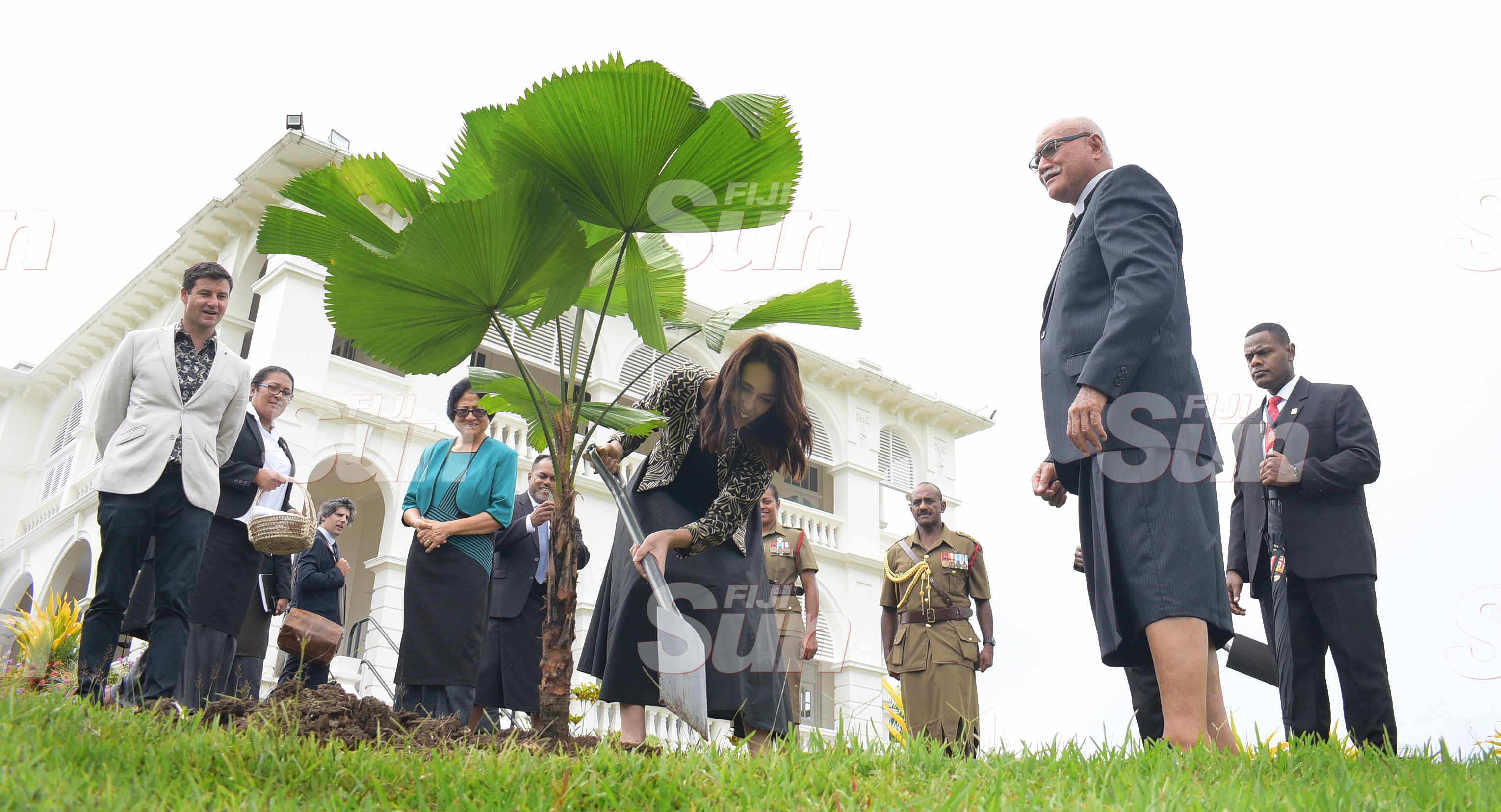 New Zealand Prime Minister Jacinda Ardern with President Jioji Konrote (right) while planting tree at State House on February 25, 2020. Photo: Ronald Kumar.