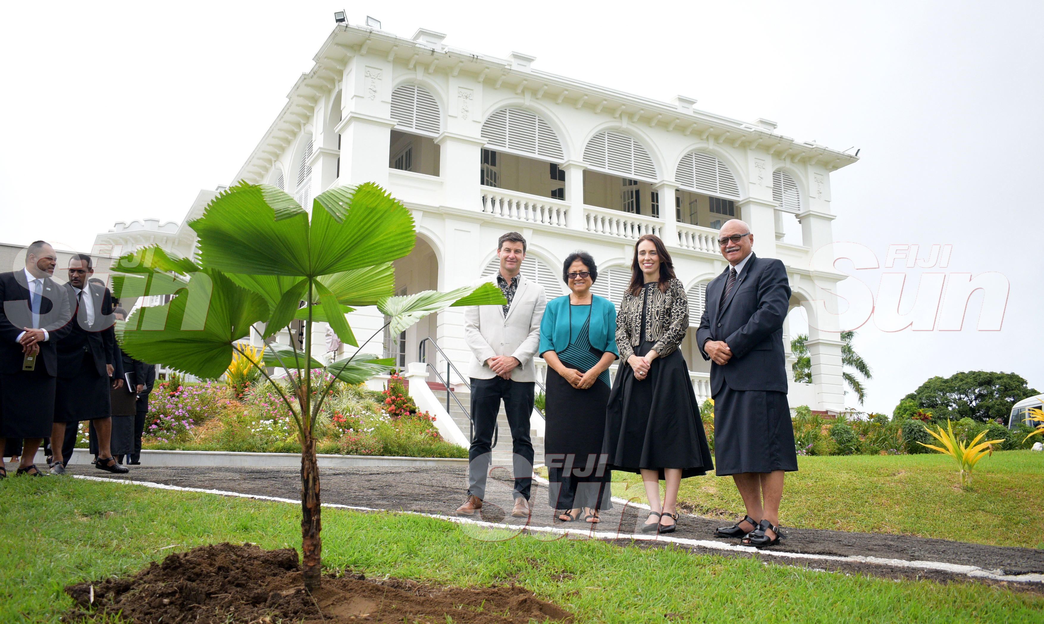 From left- Clarke Gayford, First Lady Sarote Konrote, New Zealand Prime Minister Jacinda Ardern and President Jioji Konrote after the tree planting ceremony at State House on February 25, 2020. Photo: Ronald Kumar.