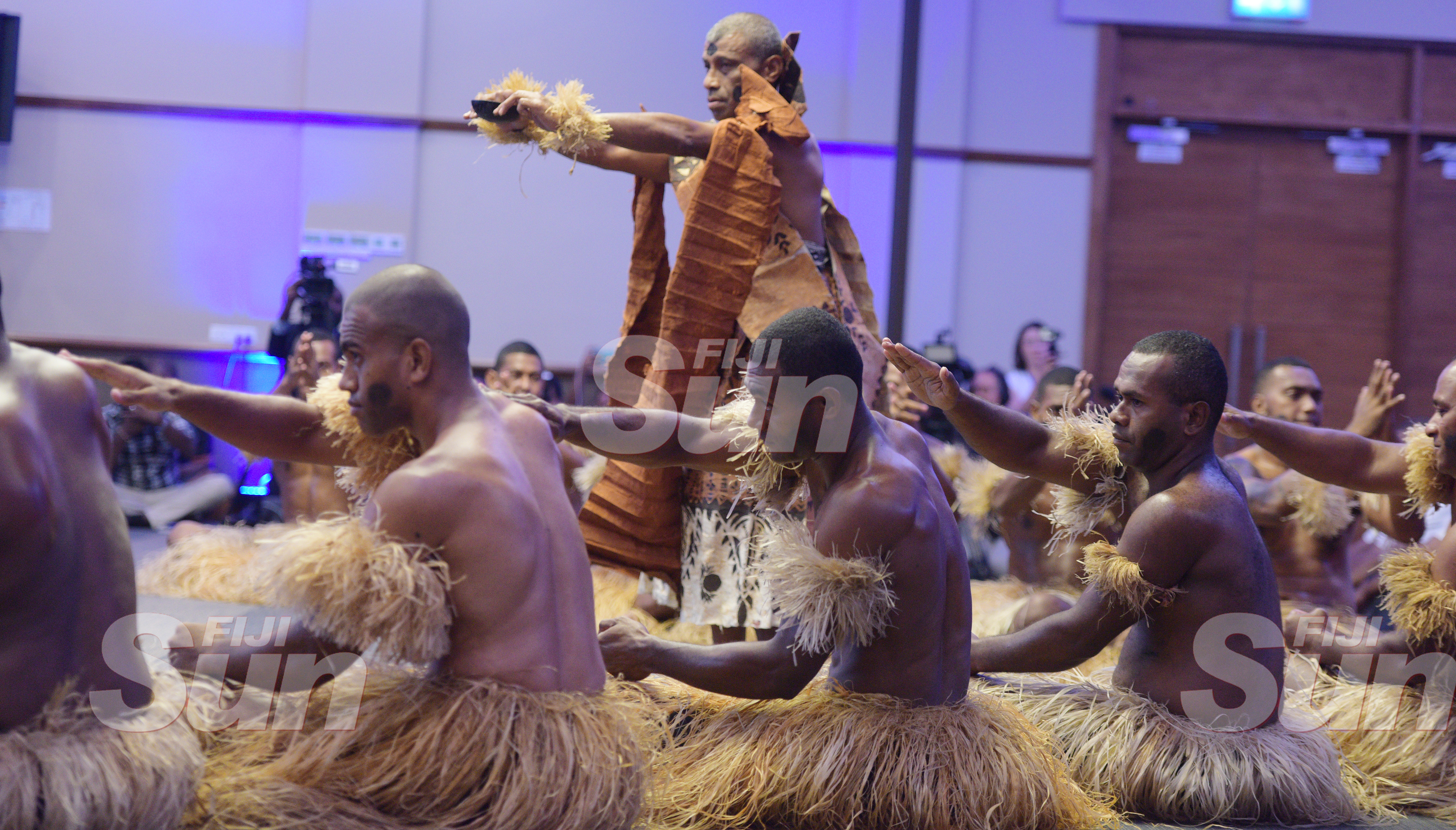Members of RFMF perform the traditional welcome ceremony for New Zealand Prime Minister Jacinda Ardern at Grand Pacific Hotel on February 25, 2020. Photo: Ronald Kumar.