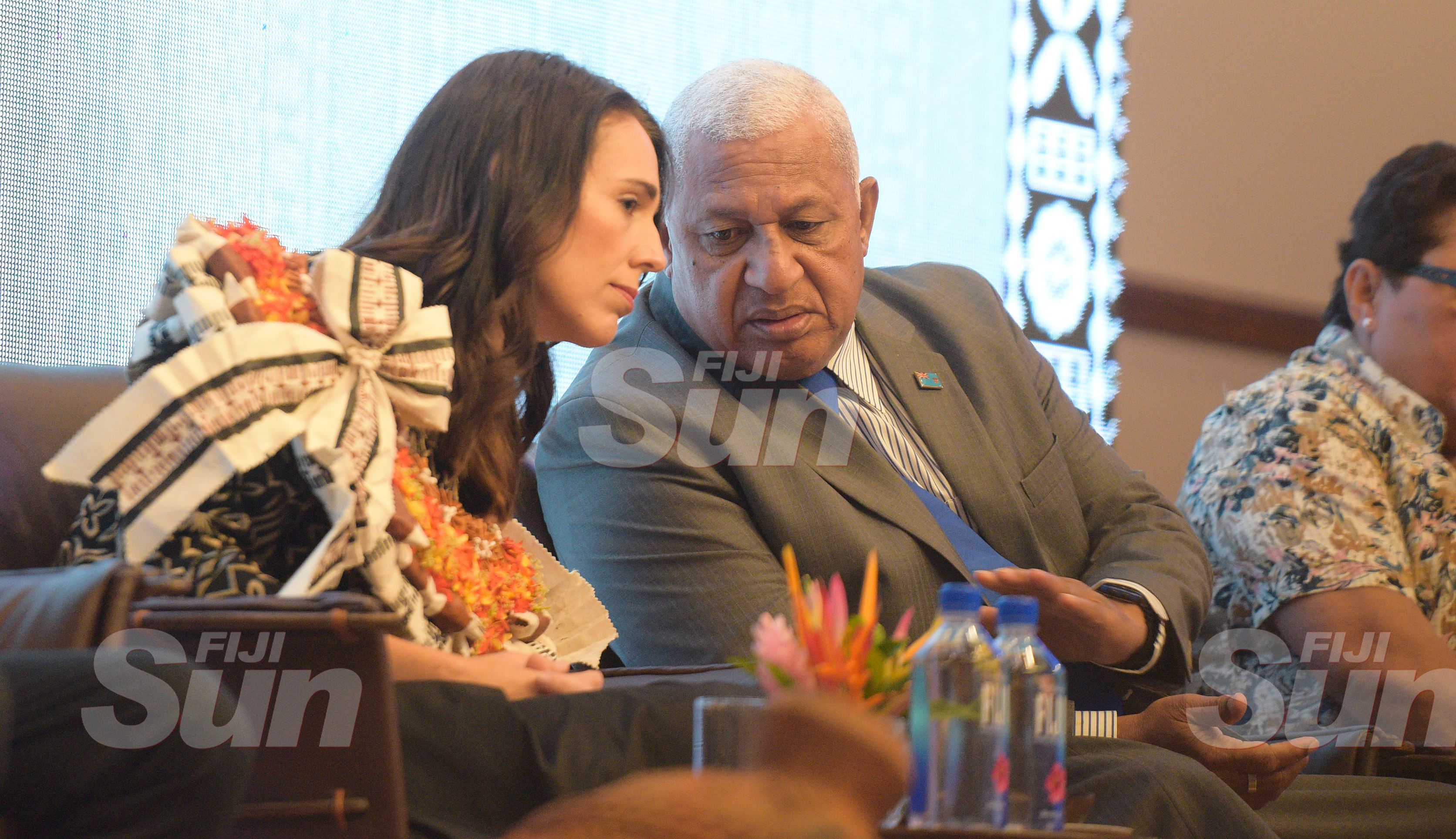 New Zealand Prime Minister Jacinda Ardern with Fijian Prime Minister Voreqe Bainimarama during her traditional welcome ceremony at Grand Pacific Hotel on February 25, 2020. Photo: Ronald Kumar.
