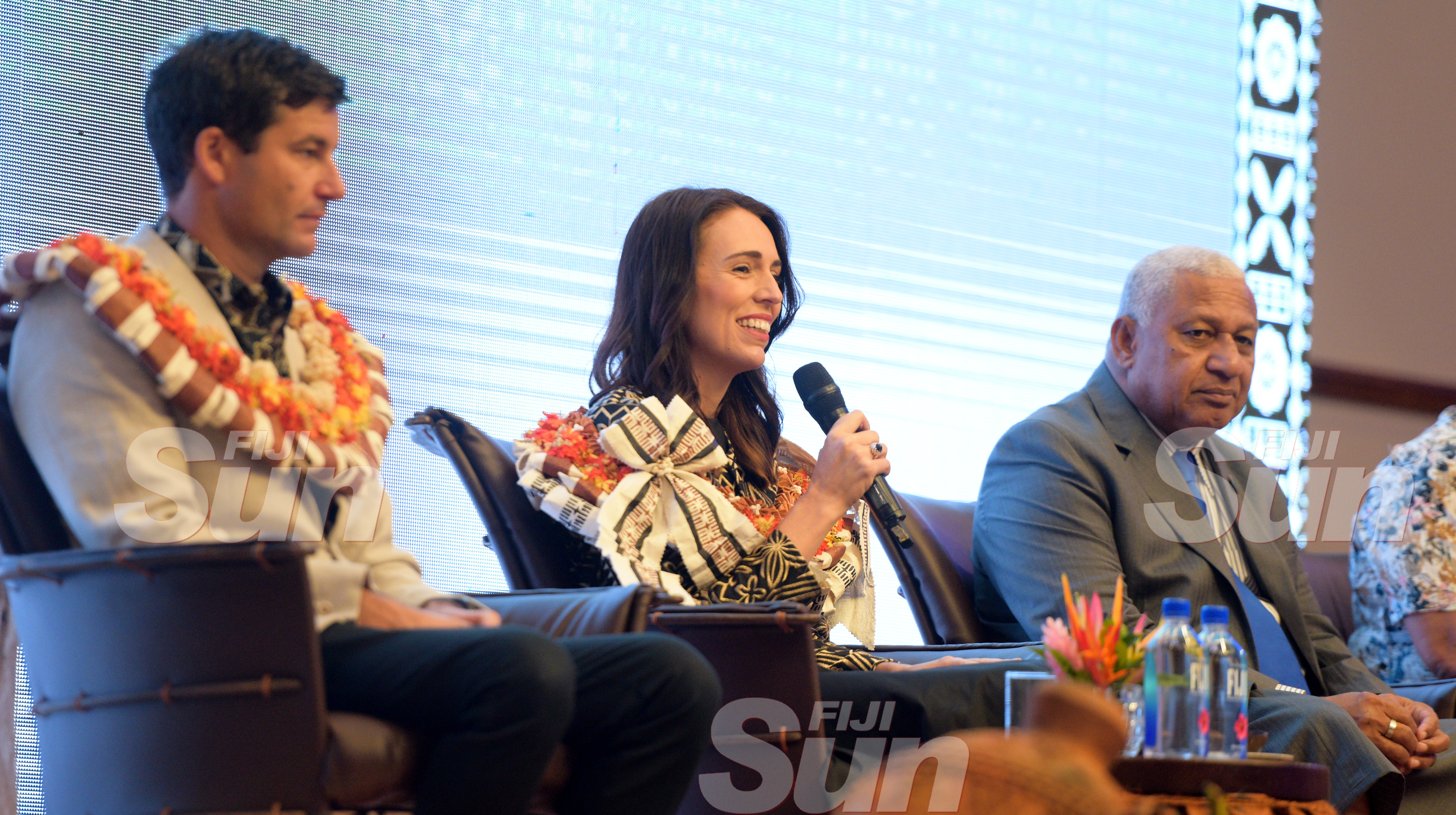 New Zealand Prime Minister Jacinda Ardern with her Husband (left) Clarke Gayford and Prime Minister Voreqe Bainimarama during her traditional welcome ceremony at Grand Pacific Hotel on February 25, 2020. Photo: Ronald Kumar.