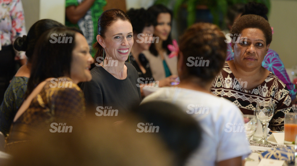 New Zealand Prime Minister Jacinda Ardern and Minister for Women Meresaini Vuniwaqa during Women leaders launch function a New Zealand High Commissioners residence on February 26, 2020. Photo: Ronald Kumar.
