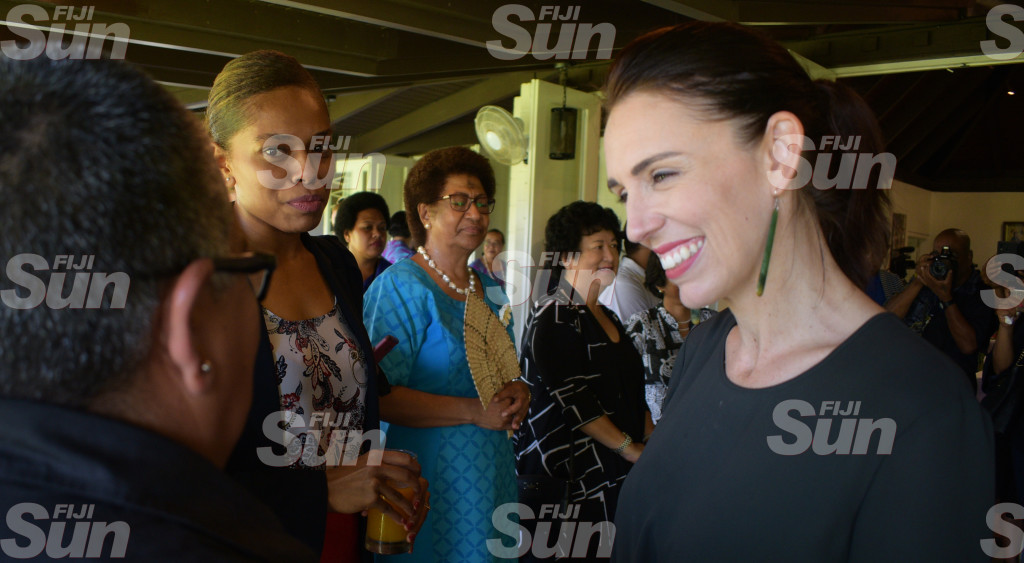 New Zealand Prime Minister Jacinda Ardern with Anne Dunn, Opposition MP, Ro Teimumu Kepa and Jenny Seeto during Women in Leader's meet at New Zealand High Commissioner's resident on February 26, 2020. Photo: Ronald Kumar.