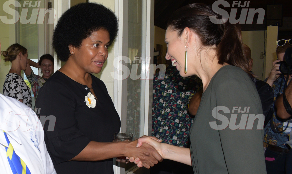 New Zealand Prime Minister Jacinda Ardern with Opposition MP Lenora Qereqeretabua during Women in Leader's meet at New Zealand High Commissioner's resident on February 26, 2020. Photo: Ronald Kumar.