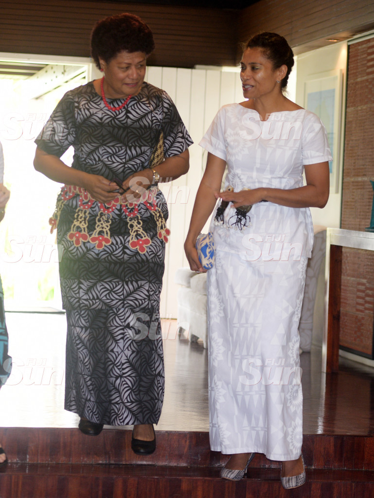 Opposition MP, Salote Raddrodro and Lynda Tabuya during Women in Leader's meet at New Zealand High Commissioner's resident on February 26, 2020. Photo: Ronald Kumar.