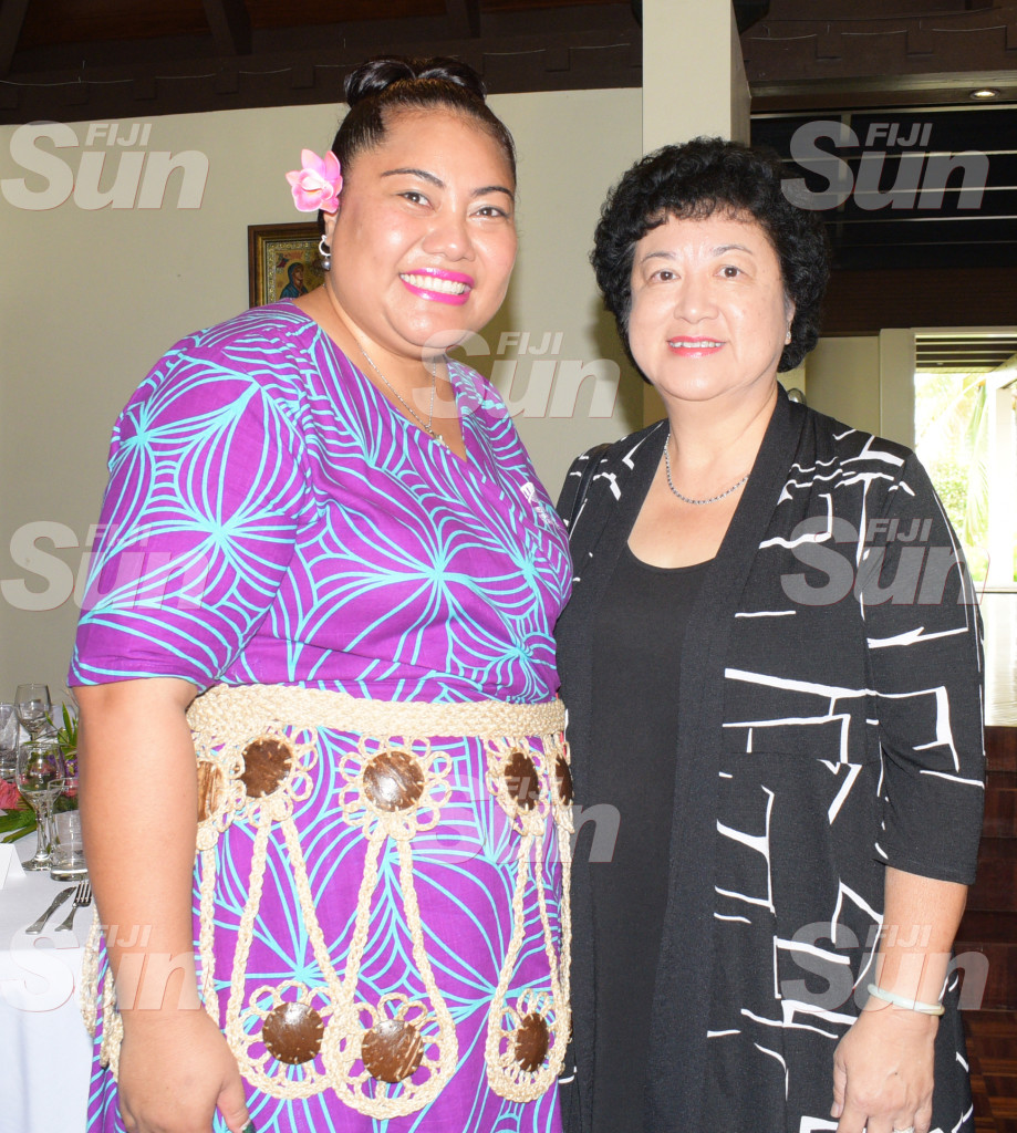 New High Commissioner's wife Florence Curr(left) and Jenny Seeto during Women in Leader's meet at New Zealand High Commissioner's resident on February 26, 2020. Photo: Ronald Kumar.