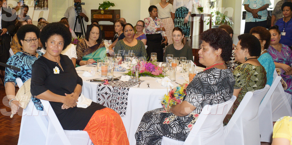 From left-Opposition MP, Lenora Qereqeretabua, Assistant Ministre for I-taukei Affairs Selai Adimaitoga, Minister for Education Rosy Akbar, Ministre fro Trade and Tourism Premila Kumar, Visiting New Zealand Prime Minister Jacinda Ardern and (far right) Opposition MP Salote Radrodro during Women leaders launch function a New Zealand High Commissioners residence on February 26, 2020. Photo: Ronald Kumar.