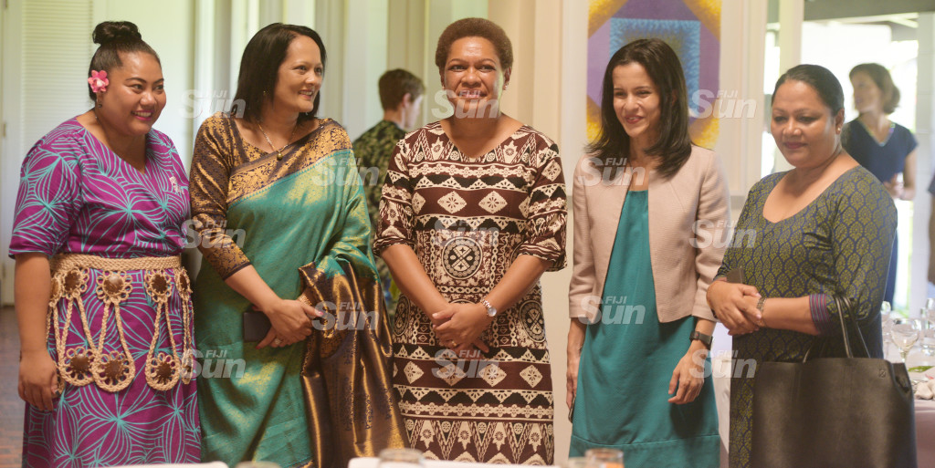 From left-New High Commissioner's wife Florence Curr, Minister for Education Rosy Akbar, Minister for Women, Meresaini Vuniwaqa, Dr. Aalisha Shau Khan, Minister for Trade and Tourism Premila Kumar , during New Zealand Prime Minister Jacinda Ardern during Women leaders launch function a New Zealand High Commissioners residence on February 26, 2020. Photo: Ronald Kumar.