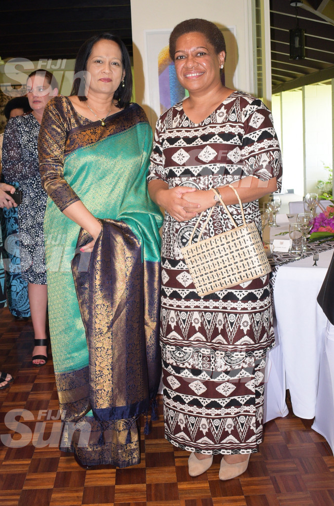 Minister for Education Rosy Akbar and Minister for Women, Meresaini Vuniwaqa during New Zealand Prime Minister Jacinda Ardern during Women leaders launch function a New Zealand High Commissioners residence on February 26, 2020. Photo: Ronald Kumar.