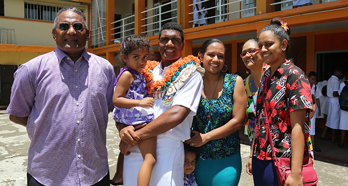 From left: Dad Jekesoni Yavala, MBHS head boy Joshua Lewenilovo with niece Mary Banner, sister Adi Paulini with nephew George Banner, mum Maria Lewenilovo and  sister Adi Lagilagi after the prefects induction ceremony at Lambert Hall in Flagstaff, Suva, on February 6, 2020.  Photo: Kelera Sovasiga
