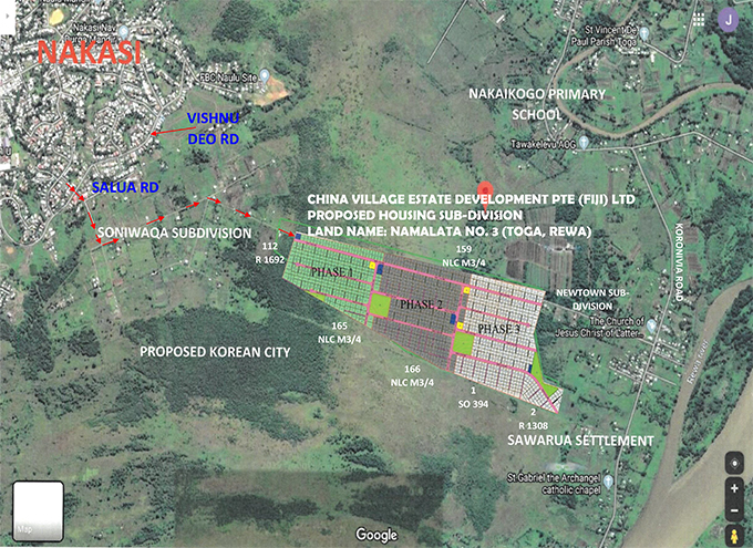 The map showing Namalata No.3 phasing plan in Toga, Rewa.