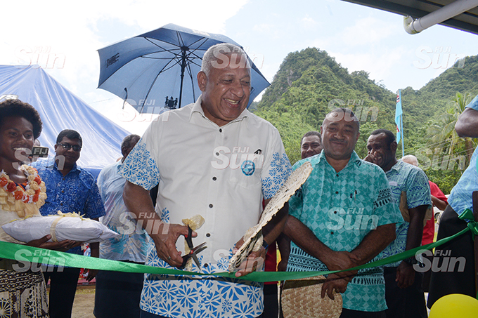 Minister for Agricuture Mahen Reddy (second from left) with Prime Minister Voreqe Bainimarama and Tui Namosi Ratu Suliano Matanitobua while opening the Namosi Government Station at Dada Namosi on February 4, 2020. Photo: Ronald Kumar.