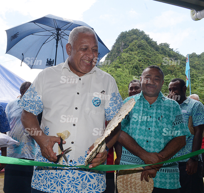 Prime Minister Voreqe Bainimarama and (right) Tui Namosi Ratu Suliano Matanitobua while opening the Namosi Government Station at Dada Namosi on February 4, 2020. Photo: Ronald Kumar.