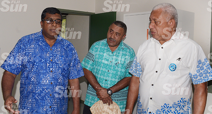 Minister for Agricuture Mahen Reddy (left) Tui Namosi Ratu Suliano Matanitobua with Prime Minister Voreqe Bainimarama following the opening of Namosi Government Station on February 4, 2020. Photo: Ronald Kumar.