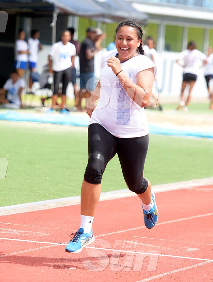 Lailani Vatabua smiles as she won the senior girls 100meters heats during St Joseph Secondary School trails at ANZ Stadium on February 8, 2020. Photo: Ronald Kumar.
