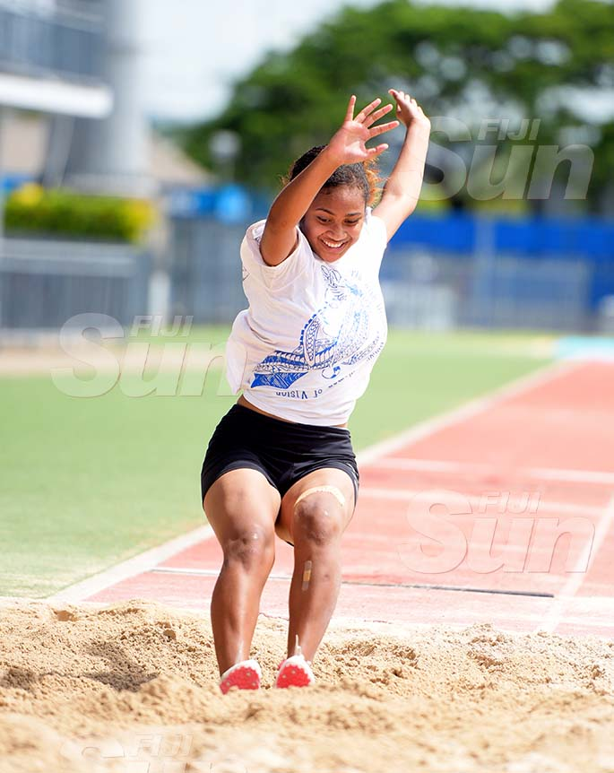 St Joseph Secondary School athlete, Mere Camucamu during inter-girls long jump trails at ANZ Stadium on February 8, 2020. Photo: Ronald Kumar.