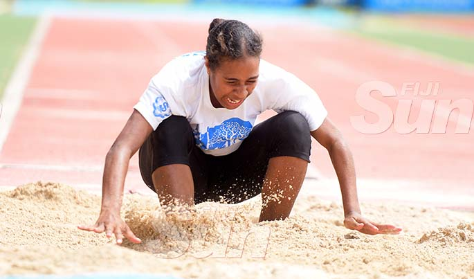 St Joseph Secondary School athlete, Merewalesi Ravuno during inter-girls long jump trails at ANZ Stadium on February 8, 2020. Photo: Ronald Kumar.