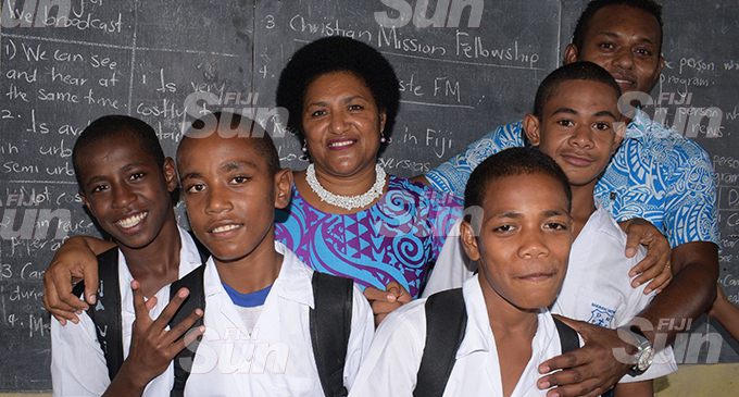 From left: Navitalai Turaganikeli in Year 6, Semi Ledua in Year 6, Jolame Nawaqatabu in Year 8, Ilaija Gaunavou in Year 7 with their class teachers, Makareta Takalaivuna and Lario Nainima, at Davuilevu Methodist School on February 14, 2020. Photos: Ronald Kumar