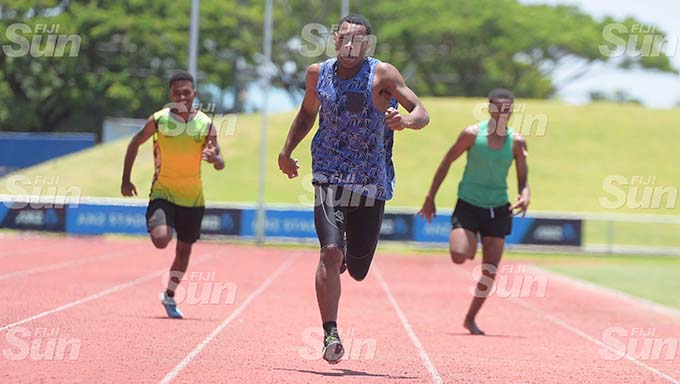 Pauliasi Cati (middle) of Suva Sangam won the 200meters senior-boy heat at ANZ Stadium on February 19, 2020. Photo: Ronald Kumar.