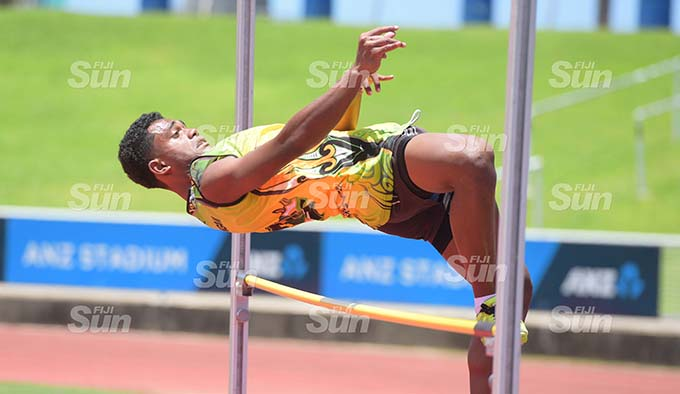 Elijah Filipe of Suva Sangam during senior boys high jump final at ANZ Stadium on February 19, 2020. Photo: Ronald Kumar.