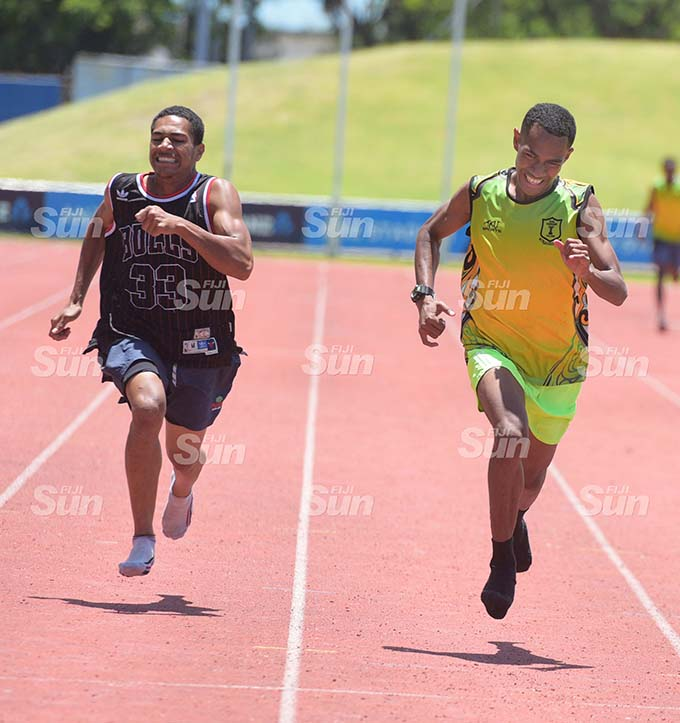 Rt Peceli Bainitabua (right) won the inter-boys 200meters heats over Sylvester Leveni during Suva Sangam High School inter-house competition at ANZ Stadium on February 19, 2020. Photo: Ronald Kumar.