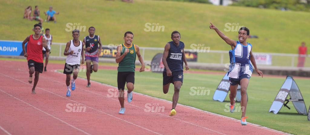 Suka Kotobalavu (right) of John Wesley Secondary celebrates his senior-boys 1500meters Suva Zone 1 final win at ANZ Stadium on 27, 2020. Photo: Ronald Kumar.