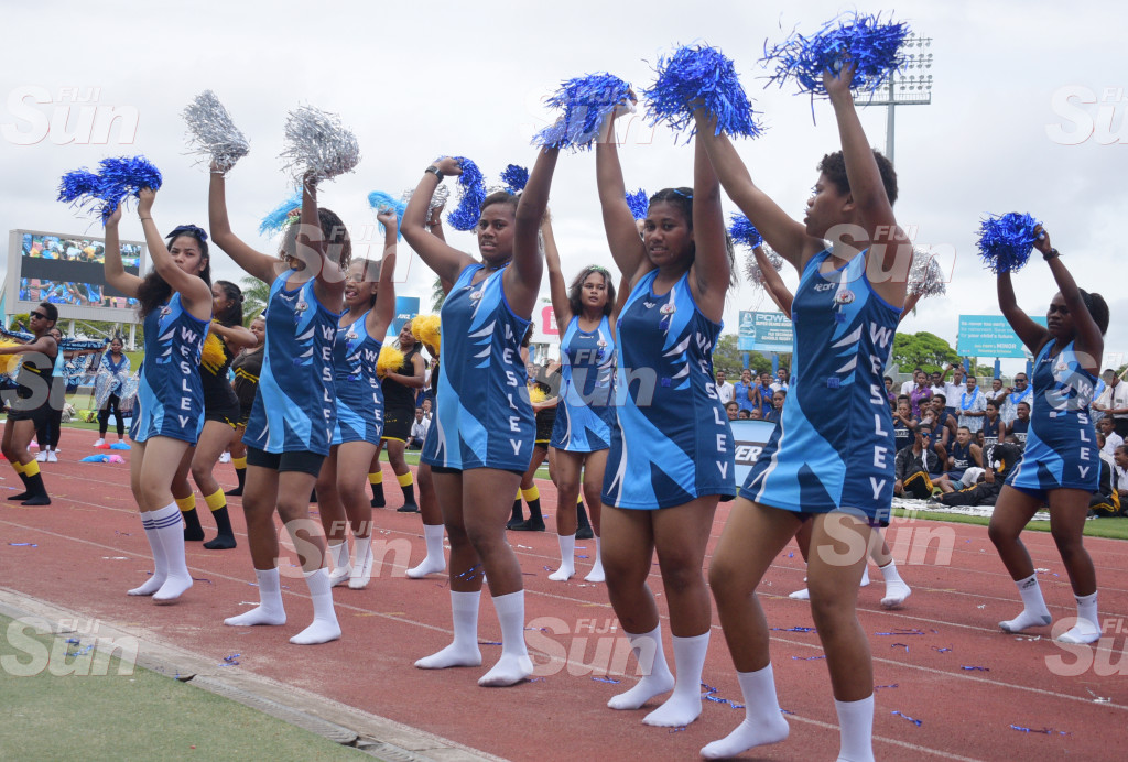 John Wesley College Cheerleading squad during Suva Zone 1 at ANZ Stadium on 27, 2020. Photo: Ronald Kumar.