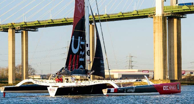 The IDEC SPORT maxi trimaran crossed the finish under the QE II Bridge which spans the Thames at 07:37:33 local time on Feb. 19, 2020.