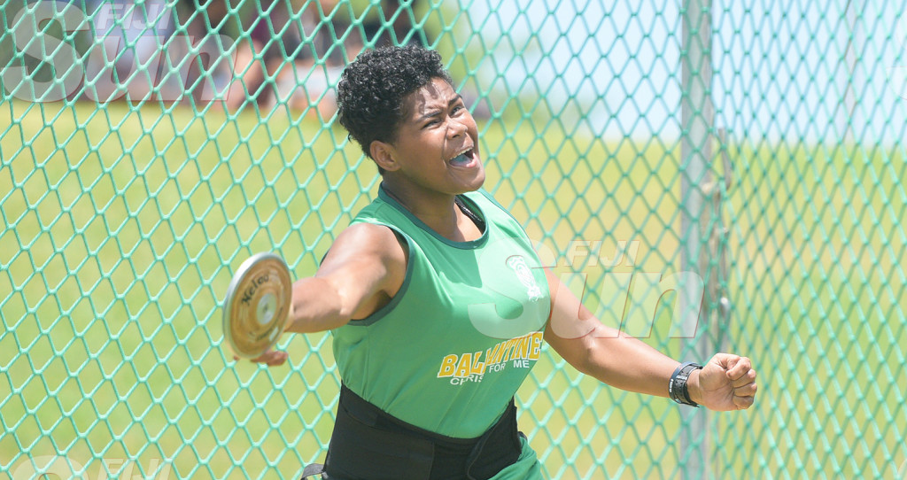 Mereisi Koroiadi of Ballantine Memorial School during Sub-Junior Discus throw final at ANZ Stadium on February 28, 2020. Photo: Ronald KUmar.