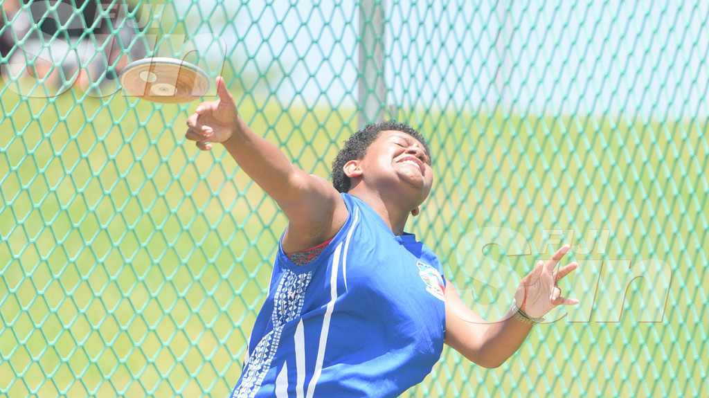 Vunisa Makelesi of Nasinu Secondary  during Sub-Junior Discus throw final at ANZ Stadium on February 28, 2020. Photo: Ronald KUmar.