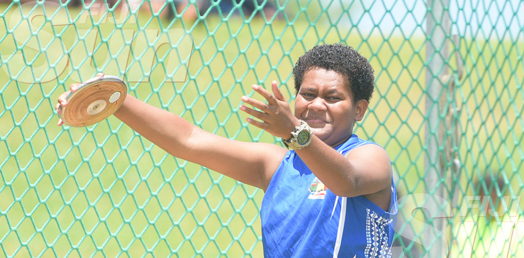 Melaia Vukayavudali of Nasinu Secondary  during Sub-Junior Discus throw final at ANZ Stadium on February 28, 2020. Photo: Ronald KUmar.